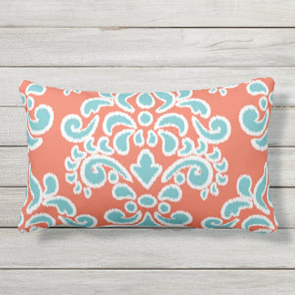 Ikat Floral Damask Aqua and Coral Lumbar Pillow
