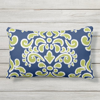 Ikat Floral Damask Blue and Chatreuse Outdoor Pillow
