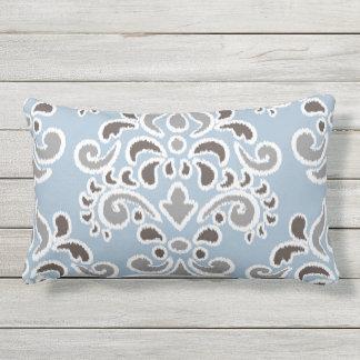 Ikat Floral Damask Blue Brown Gray Lumbar Pillow