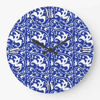 Ikat Floral Damask - Cobalt Blue and White Wall Clock