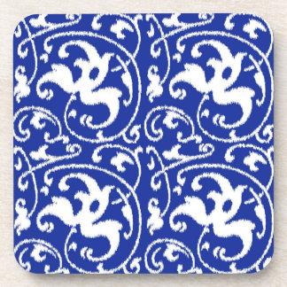 Ikat Floral Damask - Cobalt Blue and White Coaster