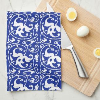 Ikat Floral Damask - Cobalt Blue and White Hand Towel