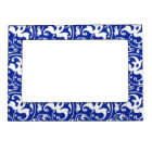 Ikat Floral Damask - Cobalt Blue and White Magnetic Picture Frame