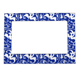 Ikat Floral Damask - Cobalt Blue and White Magnetic Picture Frame