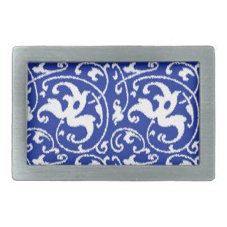 Ikat Floral Damask - Cobalt Blue and White Rectangular Belt Buckle