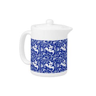 Ikat Floral Damask - Cobalt Blue and White Teapot