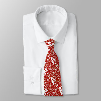 Ikat Floral Damask - Dark Red and White Tie