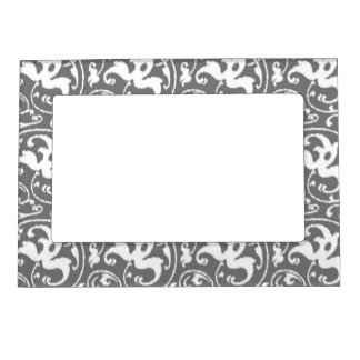 Ikat Floral Damask - Grey / Gray and White Magnetic Photo Frame