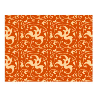 Ikat Floral Damask - Mandarin Orange Postcard