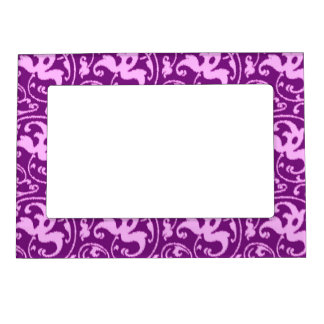 Ikat Floral Damask - Orchid and Purple Magnetic Frame