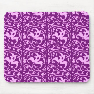 Ikat Floral Damask - Orchid and Purple Mouse Pad