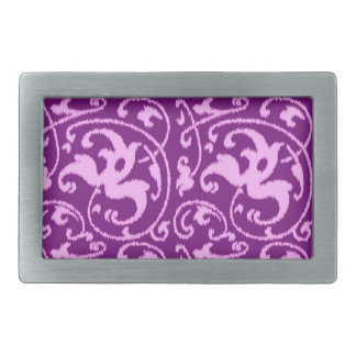 Ikat Floral Damask - Orchid and Purple Rectangular Belt Buckle