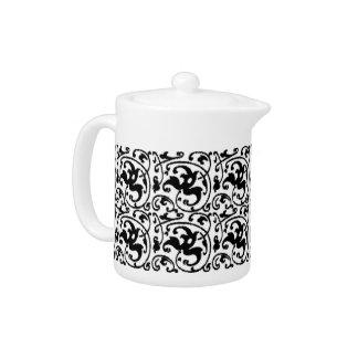Ikat Floral Damask - White and Black Teapot