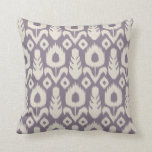 Ikat Floral Pattern in Lavender and Natural Throw Pillows