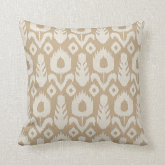 Ikat Floral Pattern in Tan and Natural Throw Pillow