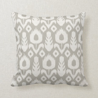 Ikat Floral Pattern Light Grey on White Throw Pillow
