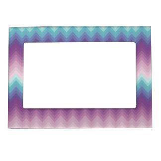 Ikat, galón, tribal, zigzag, púrpura, rosa, marcos magnéticos para fotos