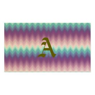 Ikat, galón, tribal, zigzag, púrpura, rosa, tarjetas de visita