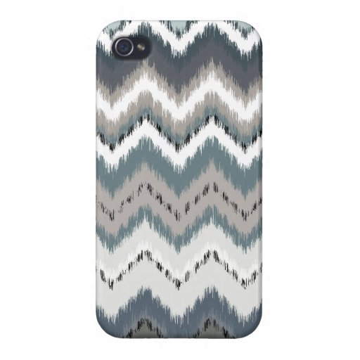 Ikat gris Chevron iPhone 4/4S Funda