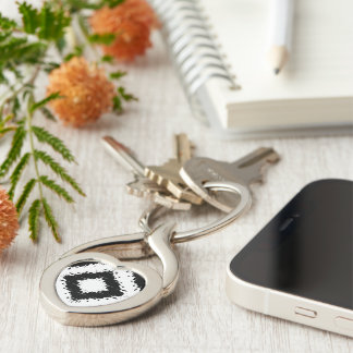 Ikat Inspired Black and White Diamond Large Keychain