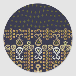 Ikat Modern Border Classic Round Sticker
