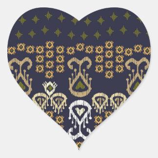 Ikat Modern Border Heart Sticker