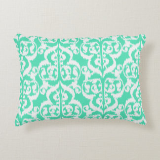 Ikat Moorish Damask - aqua and white Accent Pillow