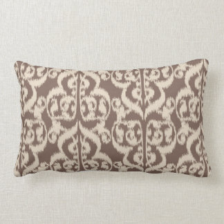 Ikat Moorish Damask - beige and taupe Lumbar Pillow