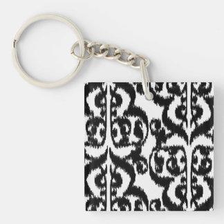 Ikat Moorish Damask - black and white Double-Sided Square Acrylic Keychain