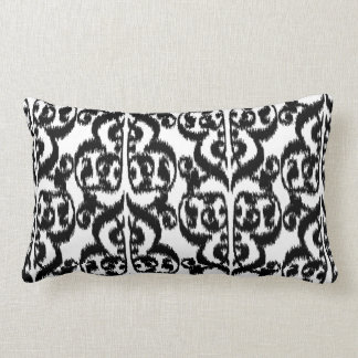 Ikat Moorish Damask - black and white Lumbar Pillow