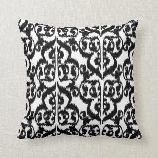 Ikat Moorish Damask - black and white Pillow