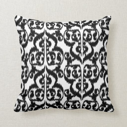 Ikat Moorish Damask - black and white Throw Pillow Zazzle