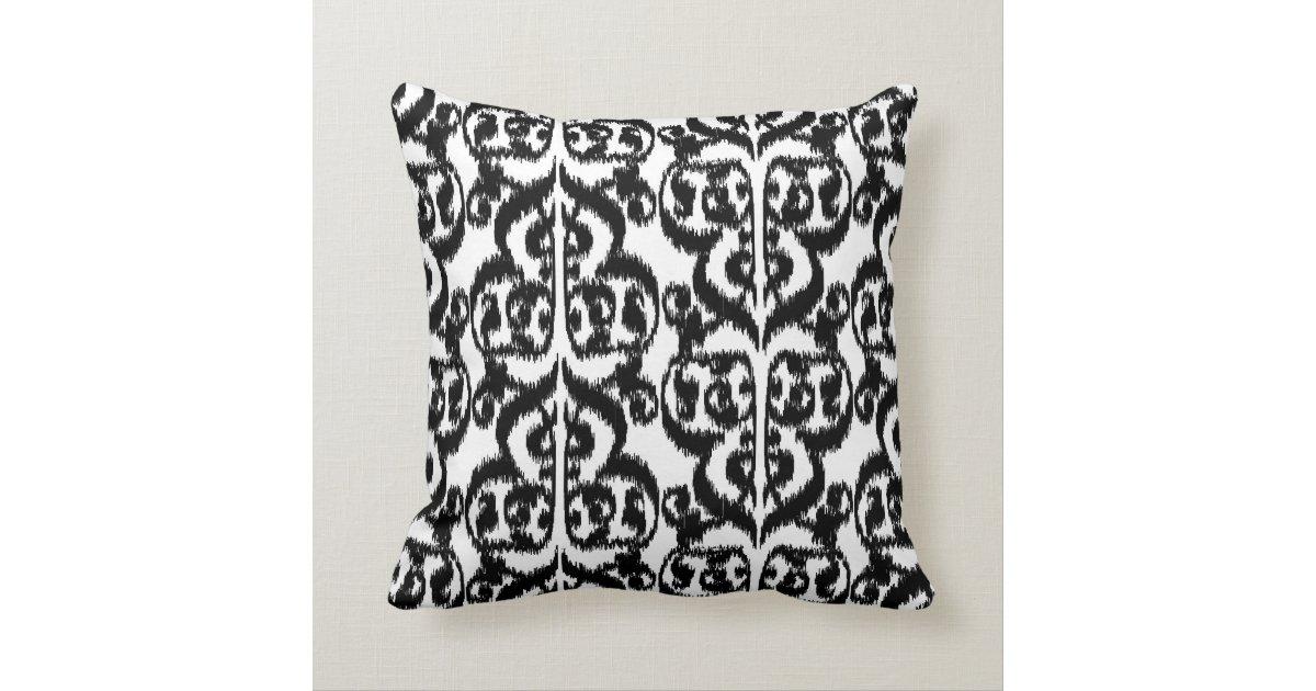 Damask Throw Pillows Black White : Ikat Moorish Damask - black and white Throw Pillow Zazzle
