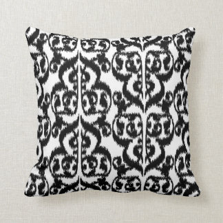 Ikat Moorish Damask - black and white Throw Pillow