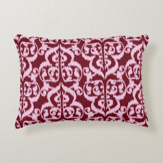 Ikat Moorish Damask - burgundy and pink. Decorative Pillow