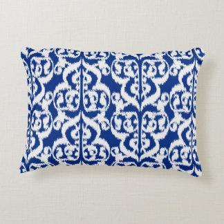 Ikat Moorish Damask - cobalt blue and white Accent Pillow