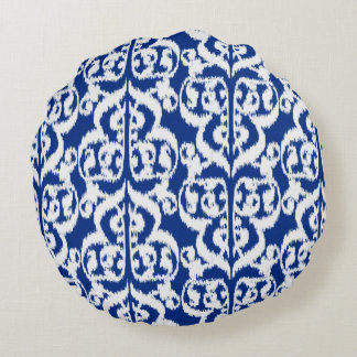 Ikat Moorish Damask - cobalt blue and white Round Pillow