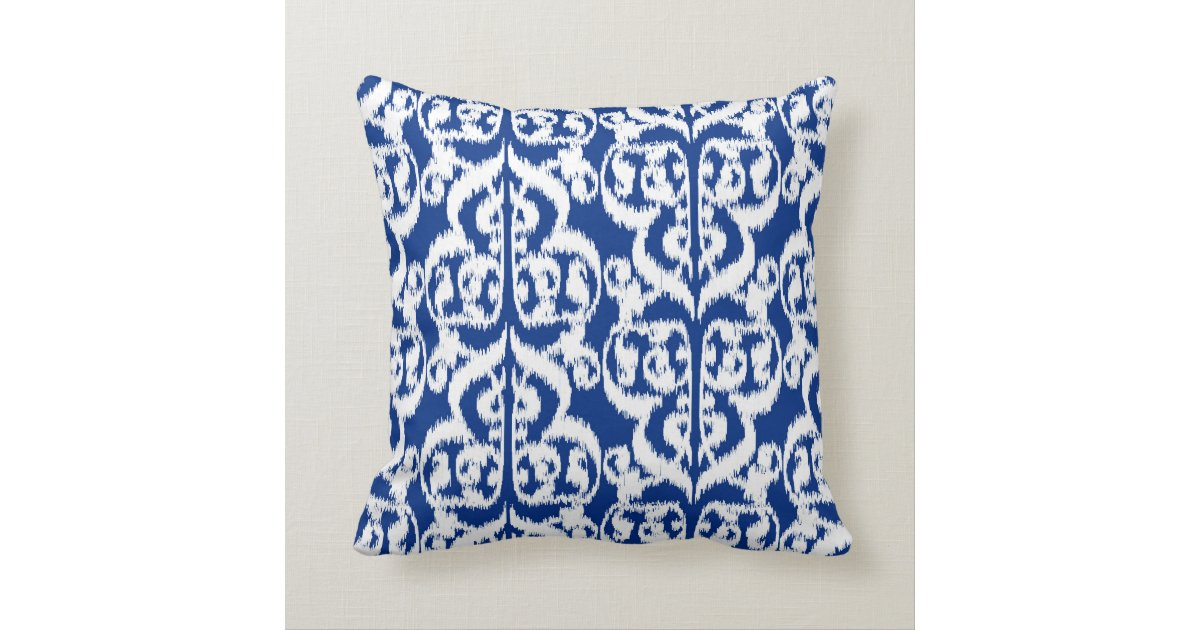 Blue White Throw Pillow : Ikat Moorish Damask - cobalt blue and white Throw Pillow Zazzle