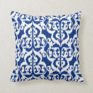 Ikat Moorish Damask - cobalt blue and white Throw Pillow