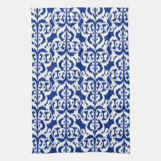 Ikat Moorish Damask - cobalt blue and white Towels