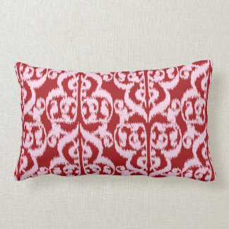 Ikat Moorish Damask - dark red and pink Lumbar Pillow