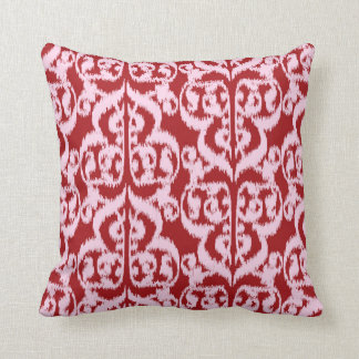 Ikat Moorish Damask - dark red and pink Throw Pillow