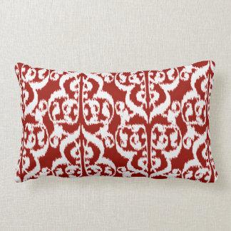Ikat Moorish Damask - dark red and white Lumbar Pillow