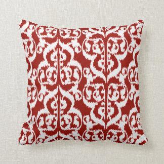 Ikat Moorish Damask - dark red and white Throw Pillow