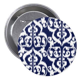 Ikat Moorish Damask - indigo and white Pinback Button