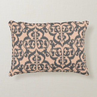 Ikat Moorish Damask - peach and charcoal grey Accent Pillow
