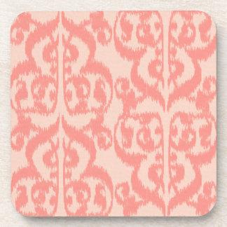 Ikat Moorish Damask - peach and coral pink Coaster