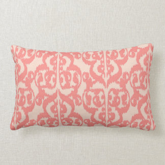 Ikat Moorish Damask - peach and coral pink Lumbar Pillow