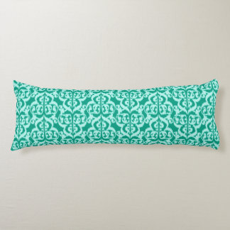 Ikat Moorish Damask - peacock and aqua Body Pillow