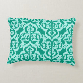 Ikat Moorish Damask - peacock and aqua Decorative Pillow